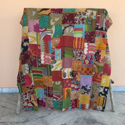 Single Size Kantha Quilt Indian Bedding Bedspread Gudari Patchwork Throw