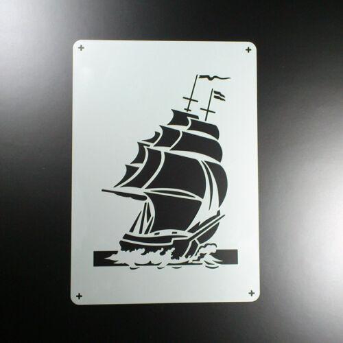 A5 Schablone Segelschiff Dreimaster Meer Maritim BE548