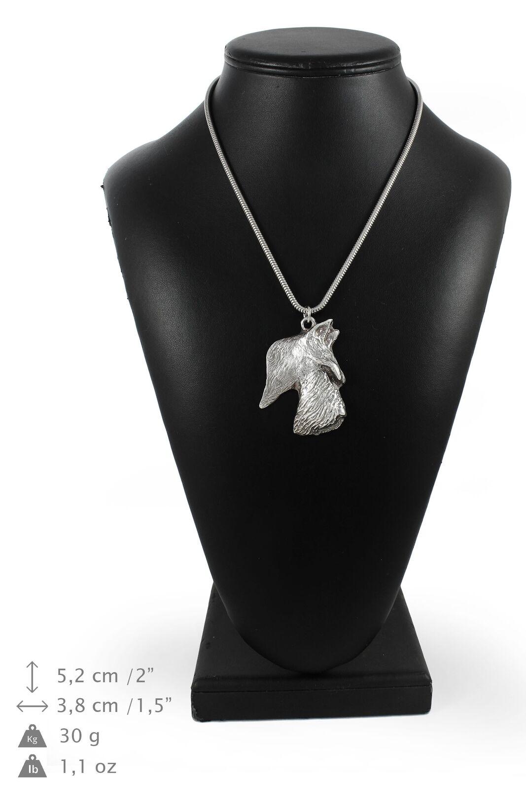 Terrier écossais  collier en argent plaqué sur une chaîne en argent Art Dog FR