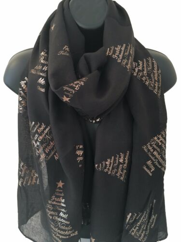 Mesdames Femmes Merry Christmas Tree Metallic Foil Imprimer noir écharpe Wrap Pashmina