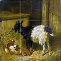 Goats In A Barn J. Herring Farm Tile Mural Kitchen Backsplash Art Marble Ceramic