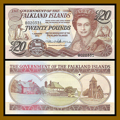 Falkland Islands 20 Pounds 2011 UNC P New QEII Note