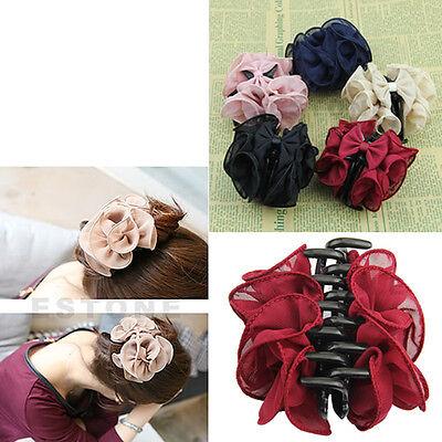 New Korean Women Fascinating Chiffon Rose Flower Bow Jaw Clip Barrette Hair Claw