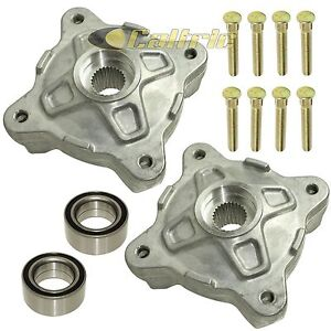 Front Left Right Wheel Hubs W/Studs & Bearings for Polaris RZR S 800 EFI 09-14