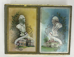 Vintage-Whitman-Double-Deck-Playing-Cards-Thomas-Jefferson-amp-George-Washington