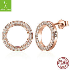 925 Silver Forever Rose & Clear CZ Round Circle Earrings With Authentic 14k Gold