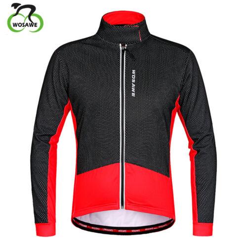 Men Winter Cycling Bicycle Jacket Thermal Fleece Windproof  Breathable Bike Coat
