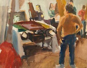 VINTAGE ARTIST STUDIO INTERIOR FIGURE PORTRAIT STUDY IMPRESSIONIST PAINTING