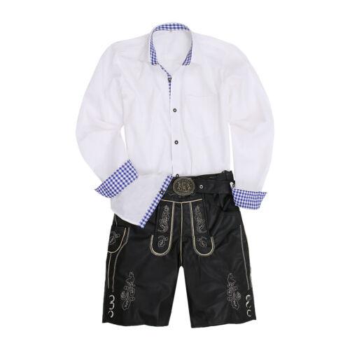 Herren Trachtenhose Lederhose Optik Gürtel Hemden Trachtenset Vegan Schwarz Weiß