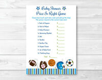 Sports Football Baseball Printable Baby Shower price Is Right Game Cards