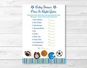 photograph relating to Baby Shower Price is Right Printable known as Data over Sporting activities Soccer Baseball Printable Youngster Shower \