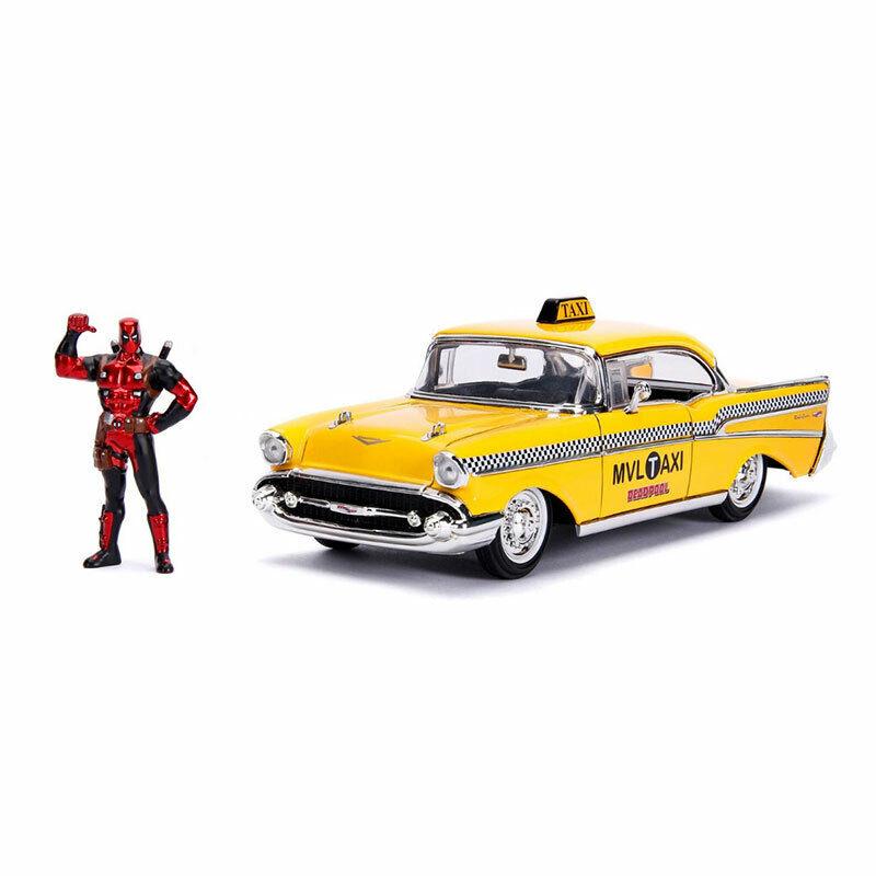 1 24 Jada Hollyträ rider - Chevy gul Taxi - Deadpool