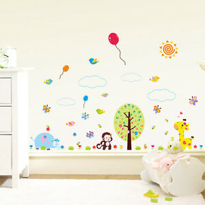 Wandtattoo-Wandsticker-Kinderzimmer-Wandaufkleber-Afe-Girafe-Tiere-Suess-Bunt-100