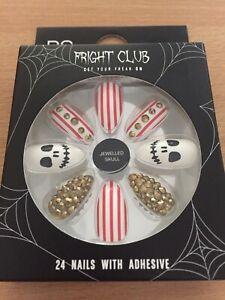 Halloween-Fright-Club-Jewelled-skull-False-Nails