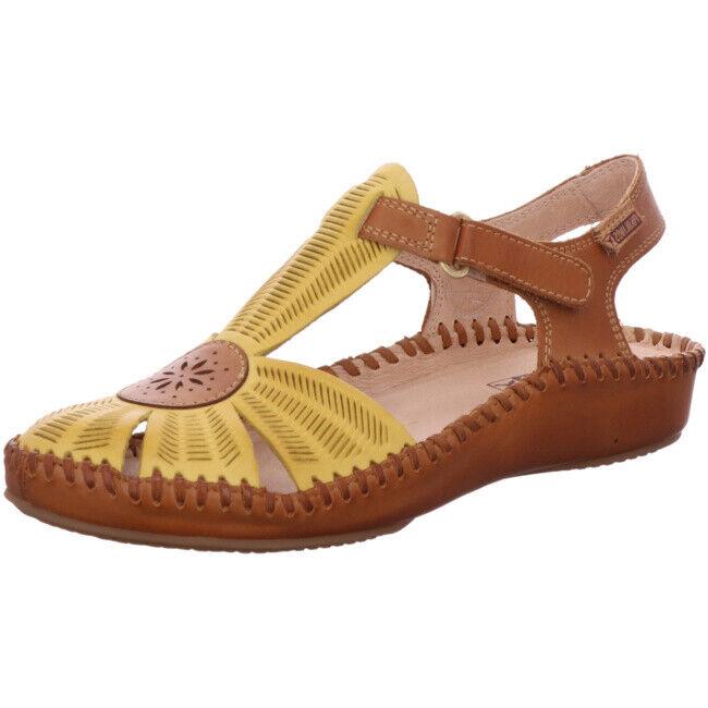 Pikolinos zapatos señora mocasines sandalia decorado 655-0575 sol brandy amarillo de cuero