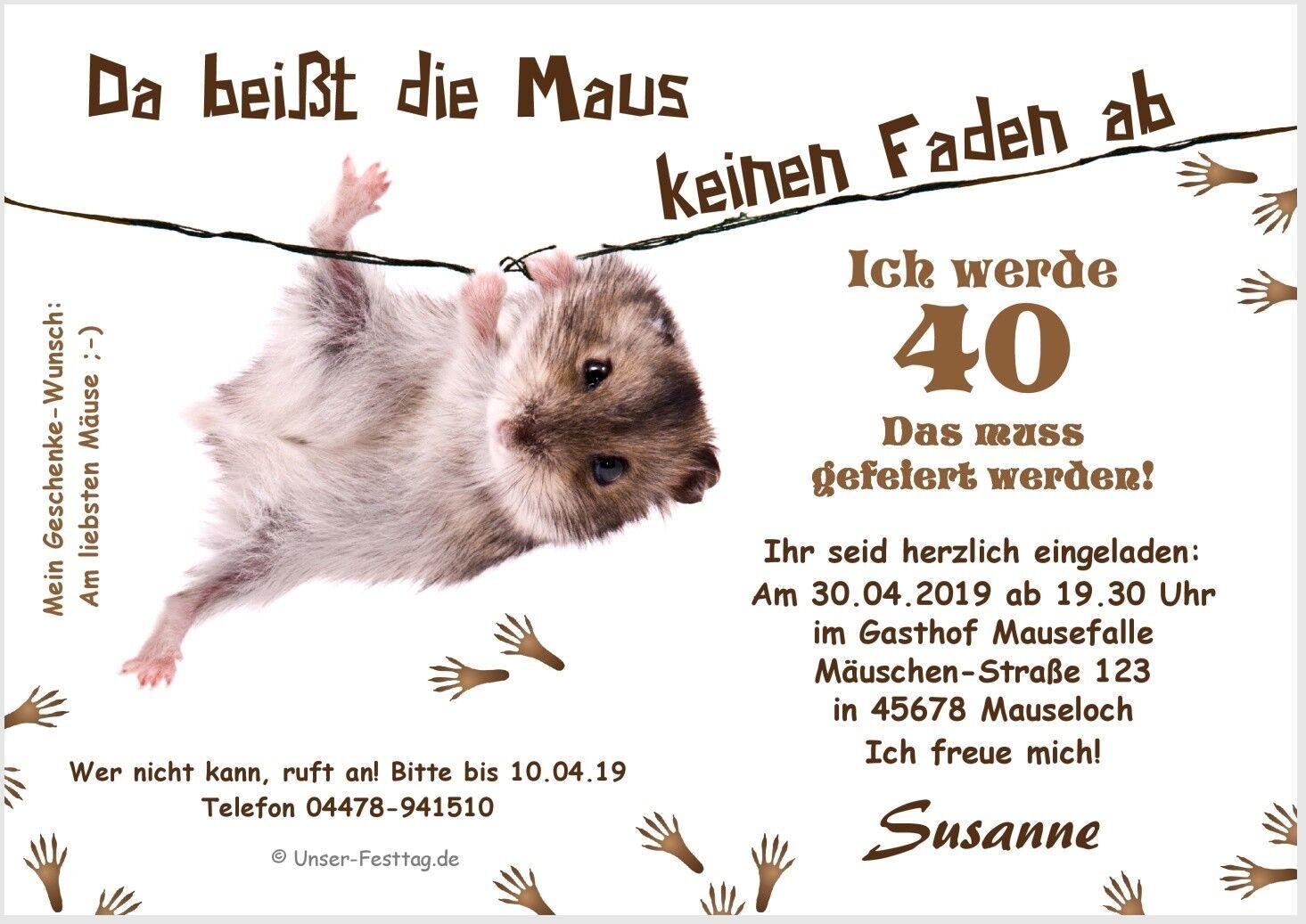 Lustige witzige Einladungskarte Maus Faden Geburtstag - in jedes Alter änderbar     Die Königin Der Qualität    Neue Produkte im Jahr 2019