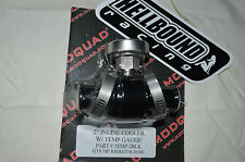 Billet inline cooler with temp gauge Honda TRX450r 450r 2004-2012 BLACK