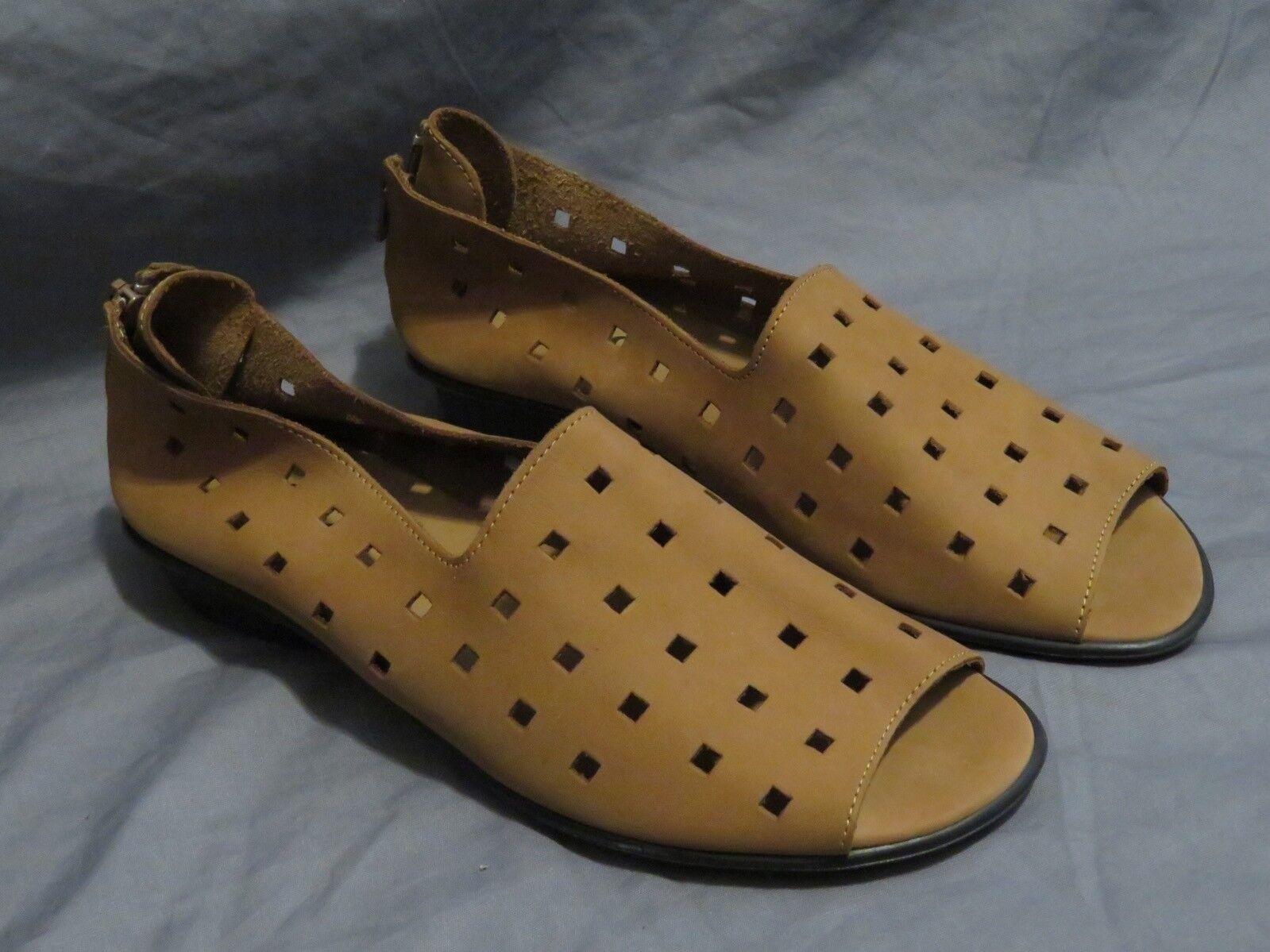Nuevo Para mujeres Sesto Meucci Gamuza marrón Mocasín recorte cuadrado de punta abierta zapatos talla 10