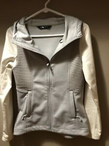 d56352400 Details about The North Face Hooded White Gray Women's Lightweight Zip Up  Jacket Size XS EUC