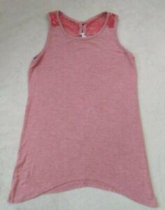 EUC-Girls-Boutique-Tank-Top-Size-10-Pink-Stripes-Pretty-Details-long-flowy-tank