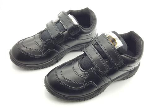 KIDS BOYS SCHOOL UNIFORM BLACK SHOES FORMAL EASY FASTEN SIZE UK 2