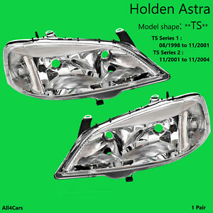 Holden Astra Head lights TS Sedan Hatch Clear Chrome 98 99 2000 2001 2002 03 04