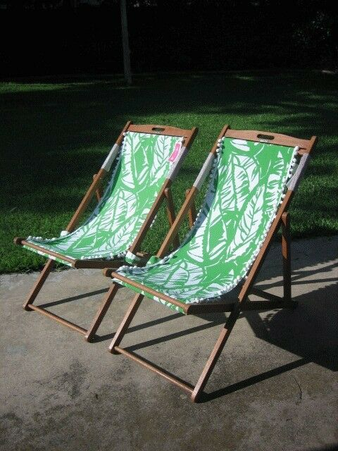 a9dbb289d0 2 Lilly Pulitzer For Target Teak Beach Chairs Boom Boom green & white  leaves NWT