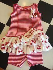 Designer Brand Kate Mack Little Girl Summer Cherry Stripe Tunic Legging Set 12M