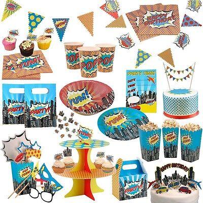 MEGA ART Superhelden Party Geburtstags Deko Geschirr Kindergeburtstag Erwachsene