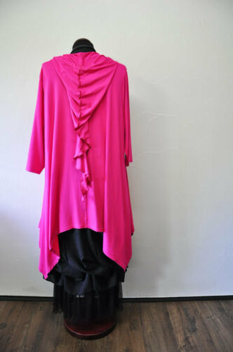 Designer-Lagenlook a-linea tunica volant cappuccio rosa tg. 2 46,48, XL, XXL