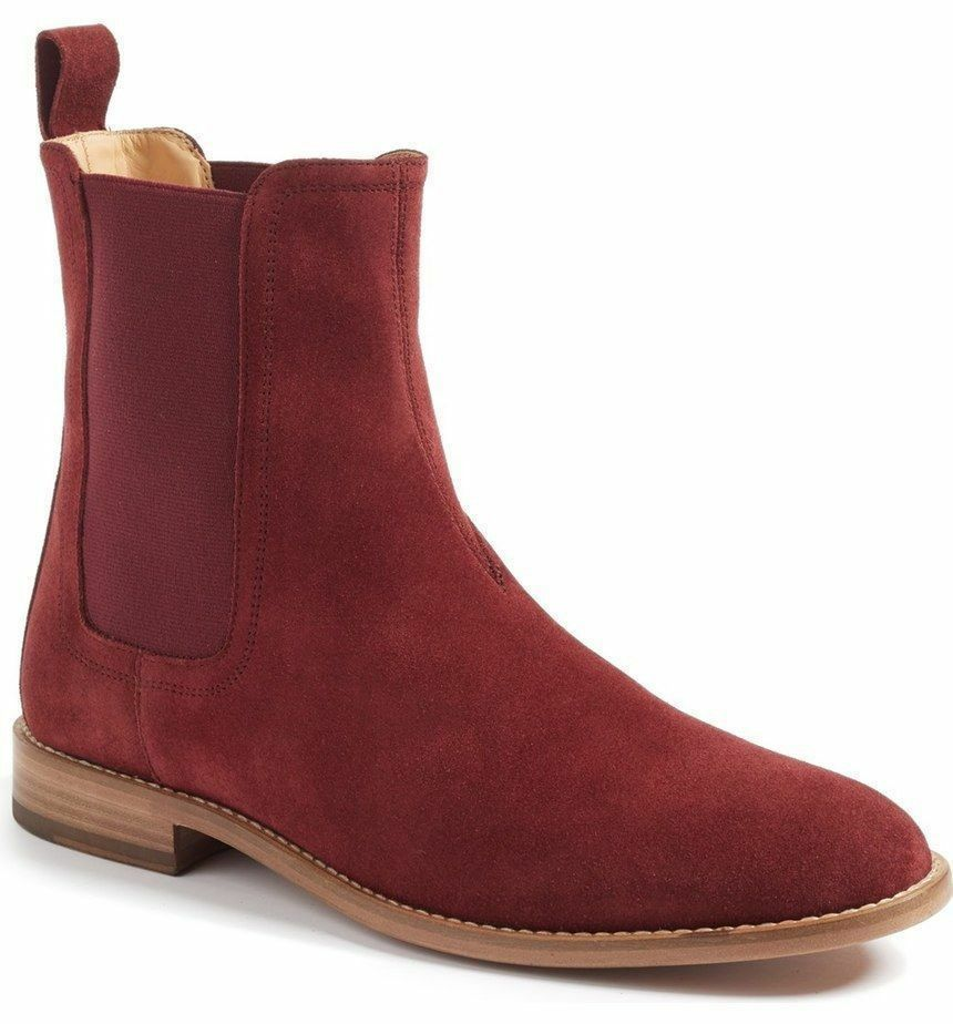 MEN FASHION HANDMADE SUEDE LEATHER FORMAL CASUAL CHELSEA BURGUNDY ANKLE BOOTS
