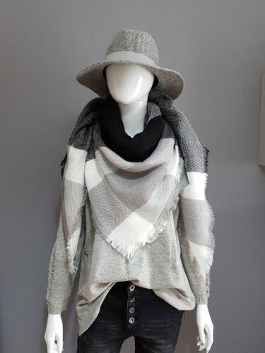 Peluche Doux * SOLDES blanc FOULARD noir franges gris
