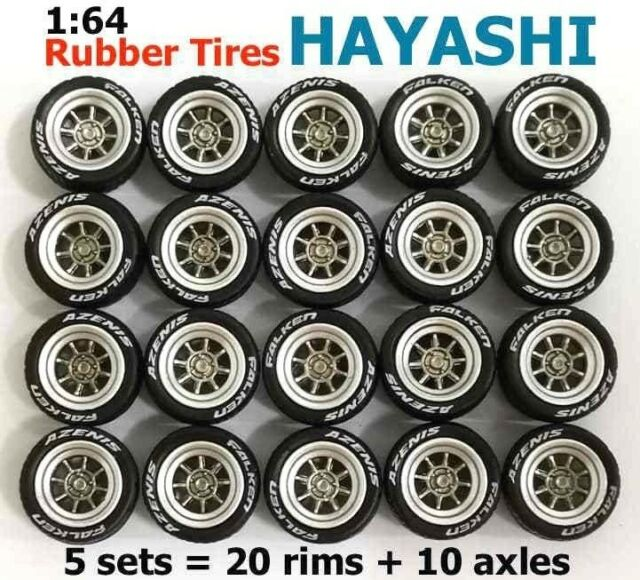 1/64 rubber tires - Hayashi rims fit Hot Wheels Nissan diecast cars - 5 sets A