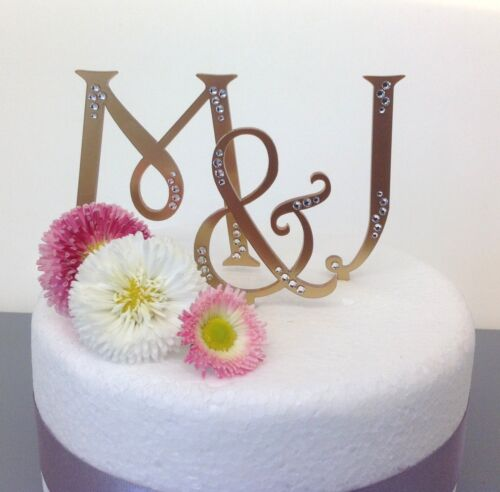 Satin or mirror gold personalised monogram wedding cake letters Toppers