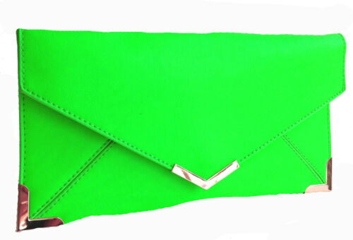 New Clutch Bag Vintage Envelope Gold Trim Flat Small Neon Colour Handbag Womens