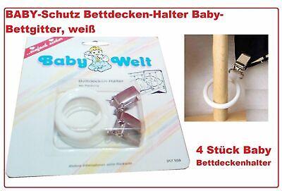 NEU Reer 4 Stk weiß Bettdecke Deckenhalter für Babybett Bettdeckenhalter