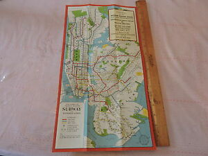 Irt Nyc Subway Map.Details About Rare 1955 New York City Subway Map William Sloane Ymca Irt Bmt Ind Nyc