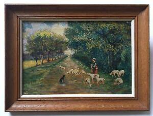 Tableau ancien signé, Huile sur toile, Bergère et ses moutons, Cadre, Début XXe