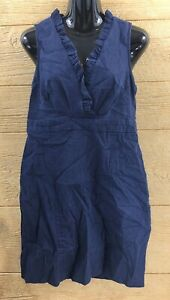 Womens-Dress-Size-10-Blue-Pencil-Knee-Length-Ruffle-Dressy-Jean