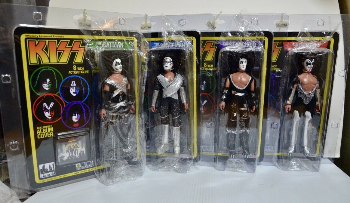 KISS RETRO Complete Set Figures Toy Company 8  Figure with Album Cover Series 1