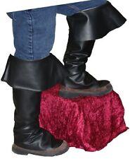 BOOT TOPS Adult Black Buccaneer Pirate Santa Shoe Covers Costume Accessory