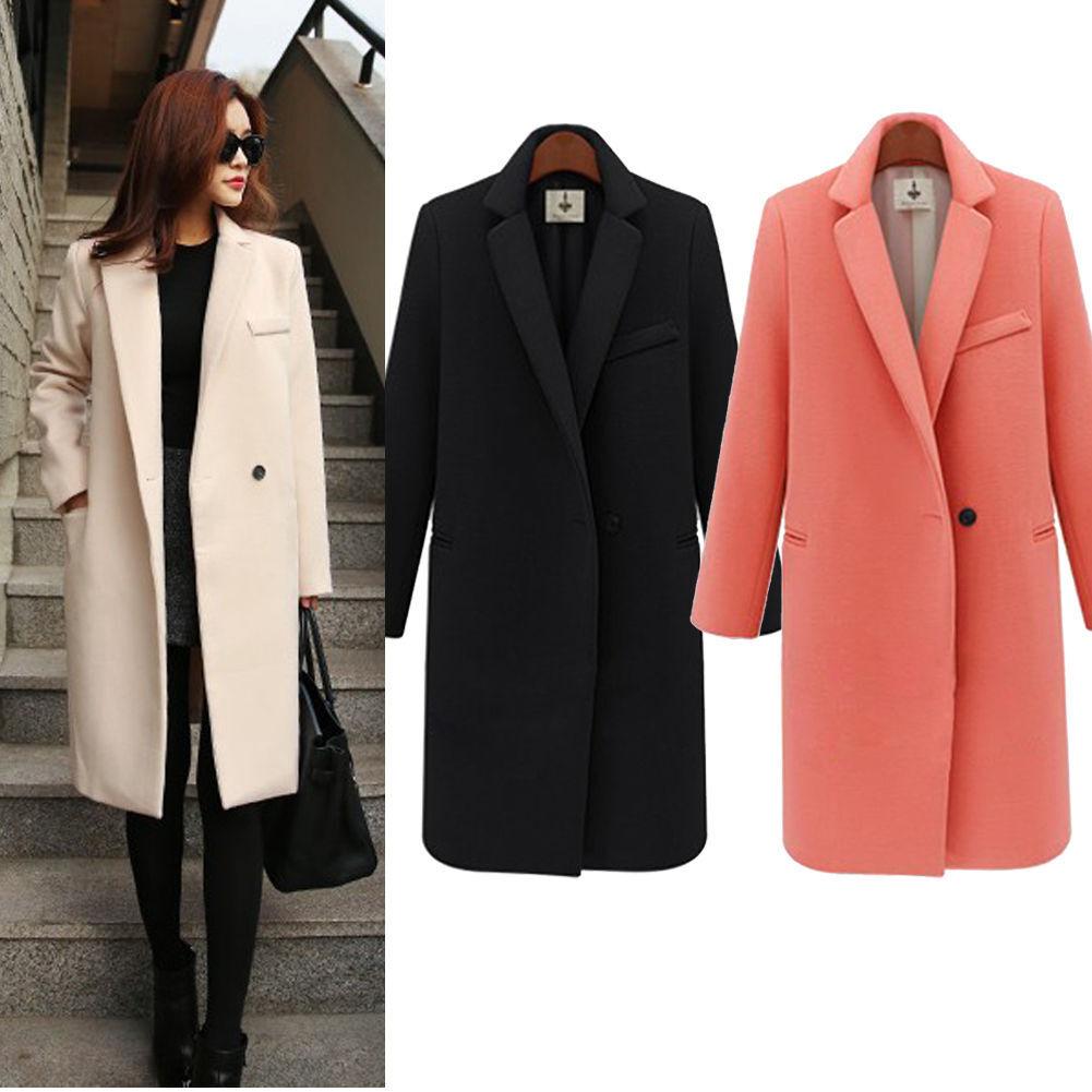 Winter Fashion Women's Long Sleeve Loose Lapel Wool Blend Trench Coat Outwear
