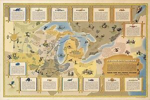 1942 pictorial map Great Lakes region Indians Native American Tribes ...