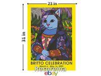Romero Britto Rare Mona Cat Poster Mint