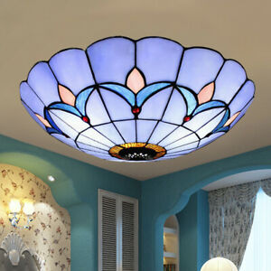 Stained Gl Flush Mount Ceiling Light