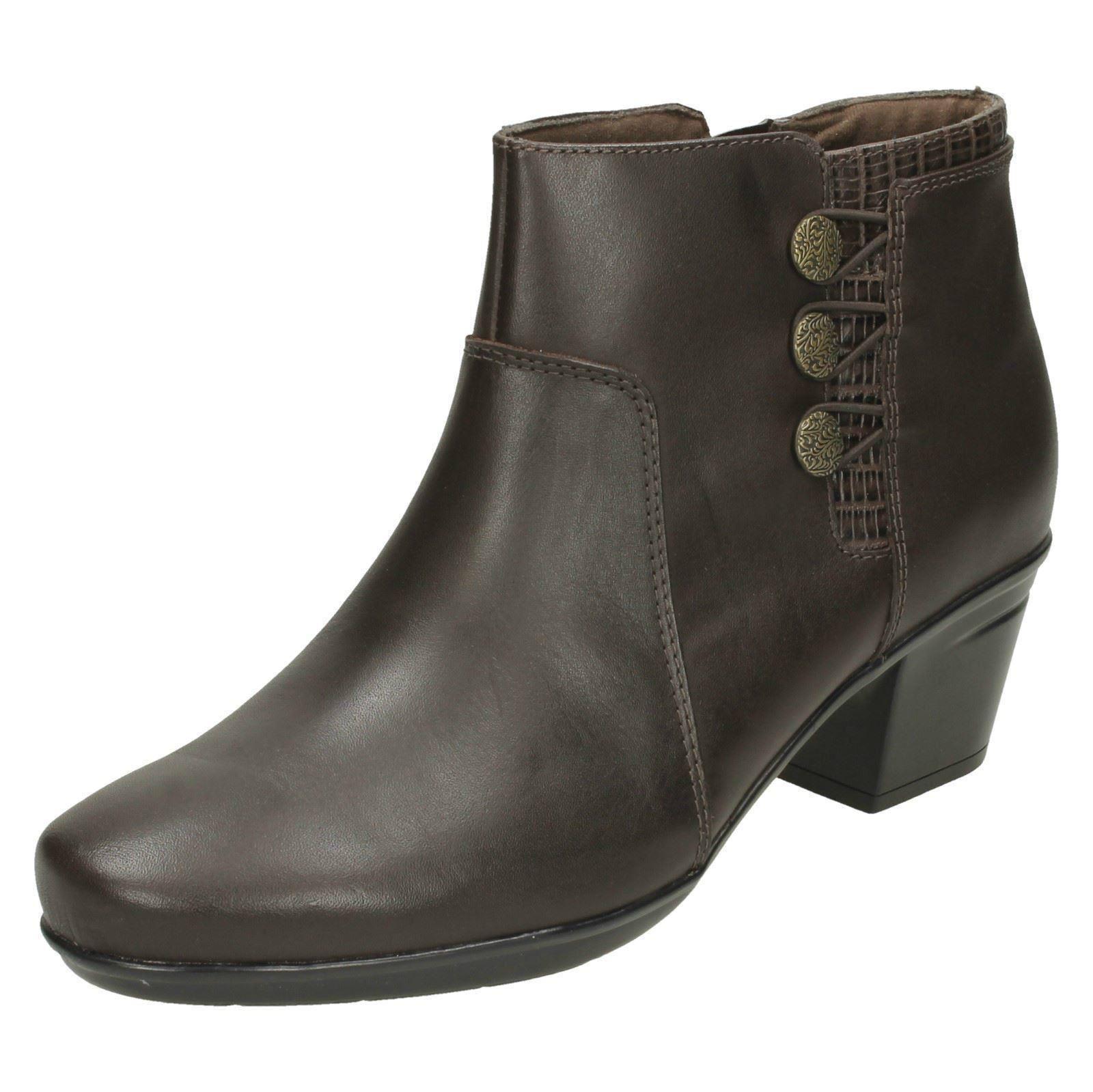 Ladies Clarks Emslie Monet Leather Smart Bnkle Boots E Fitting
