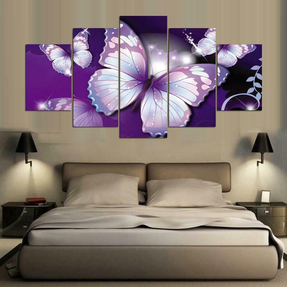 violet Butterfly Abstract Animal 5 pièces toile mur Home Decor Poster Artwork