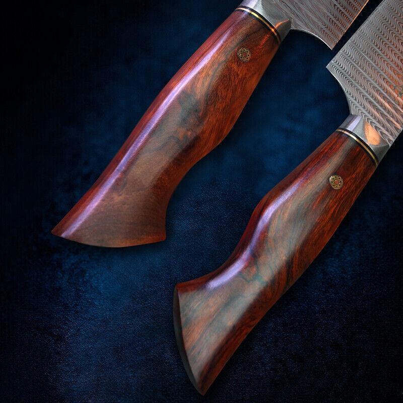 Handmade Chef Knife Damascus Steel Japanese Japanese Japanese Gyuto Wood Handle Leather Sheath 7  76434a