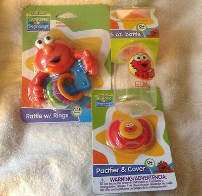 Elmo Sesame Street Baby Shower Bottle Rattle Pacifier Gift Lot