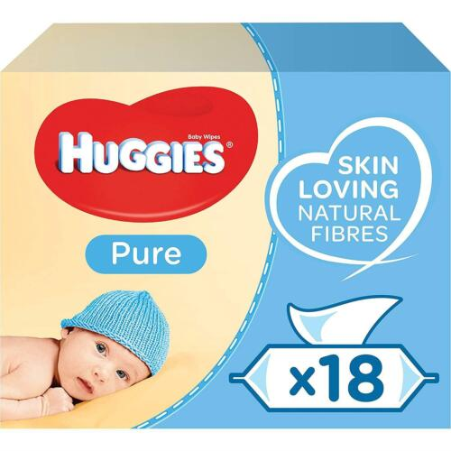 18 Packs Clean Natural Care Pampers Huggies Pure Baby Wipes 1008 Wipes Total